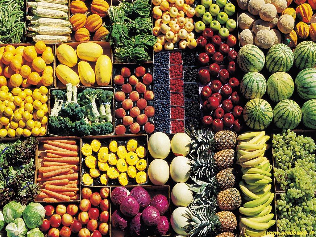 cartone di frutta e verdura